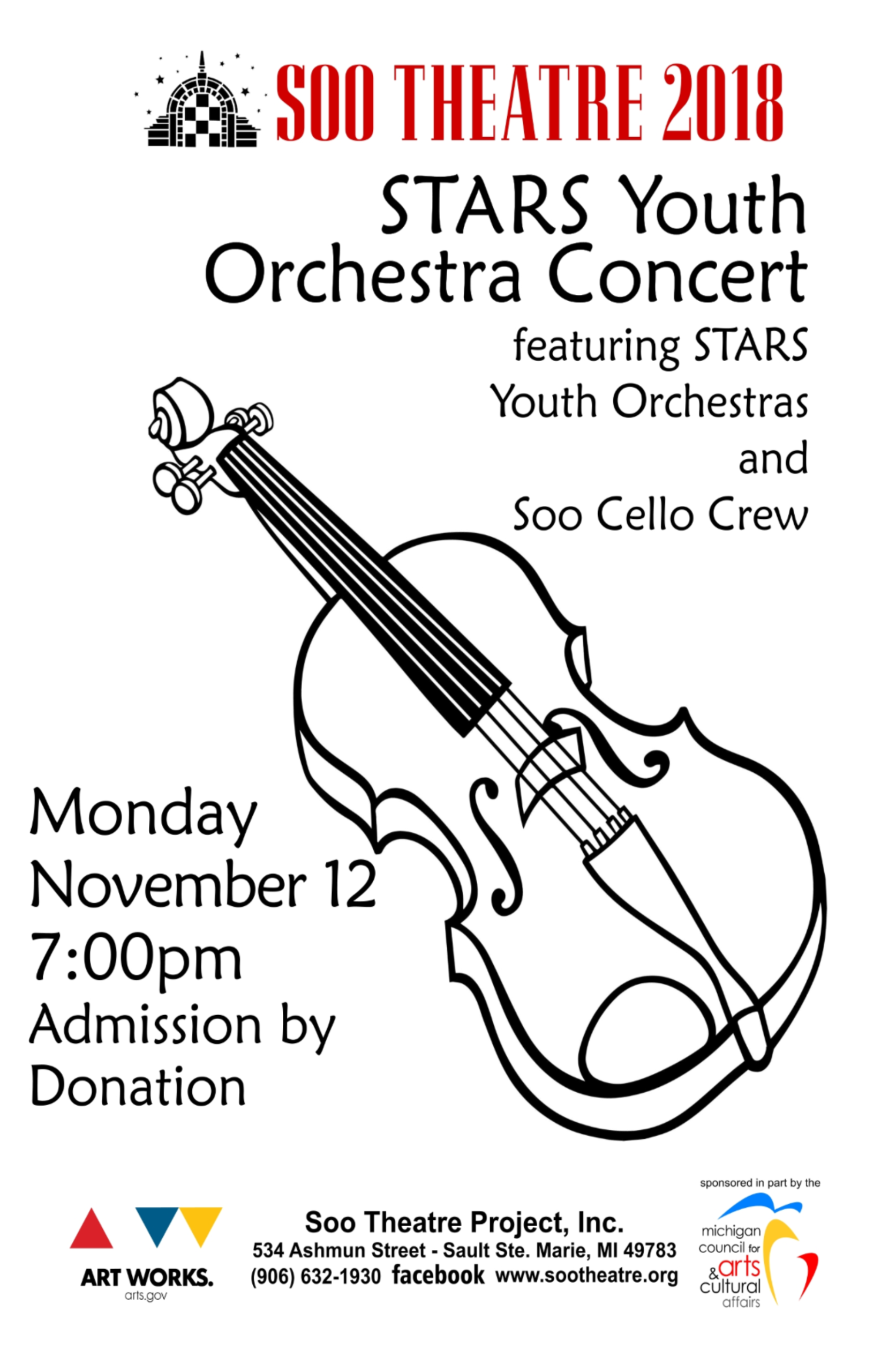 STARS Youth Orchestra & Soo Cello Crew Concert – The Soo Theatre